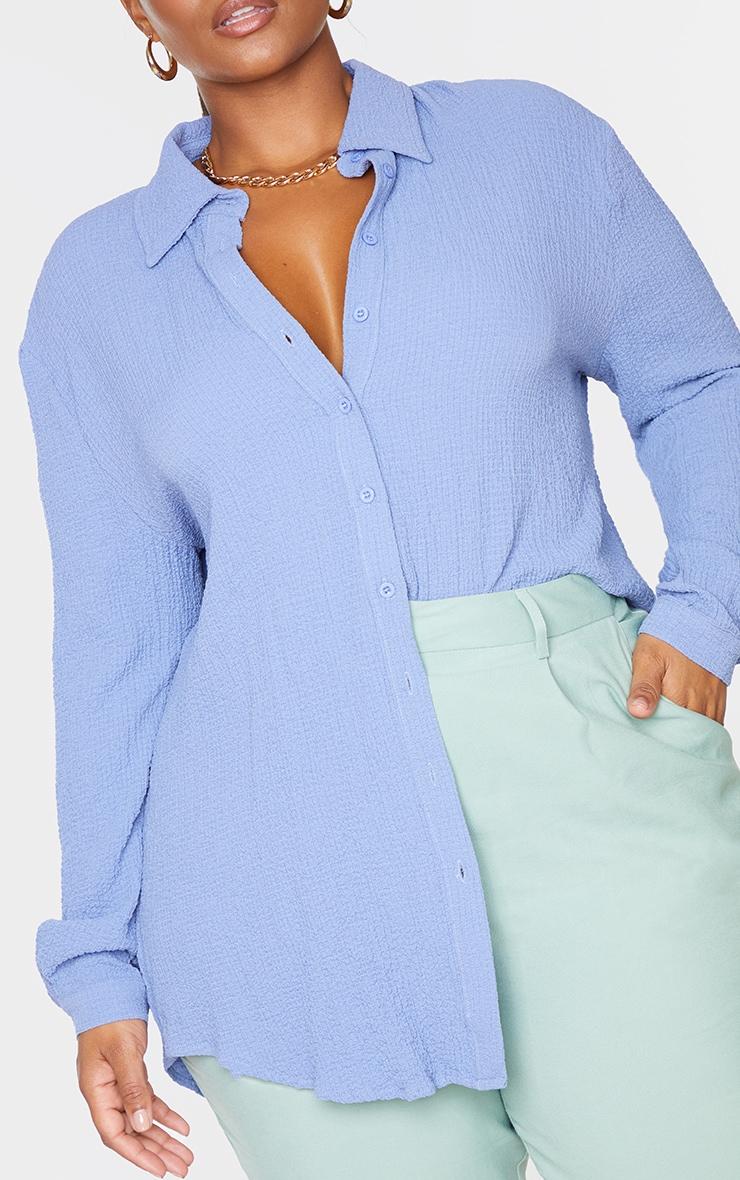 Plus Blue Textured Oversized Shirt 4