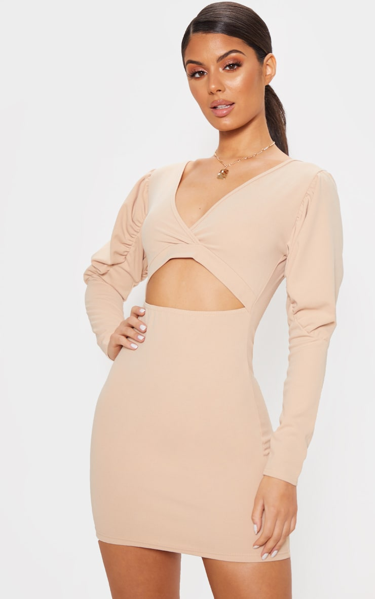 26d059459a85 Stone Puff Sleeve Cut Out Bodycon Dress | PrettyLittleThing