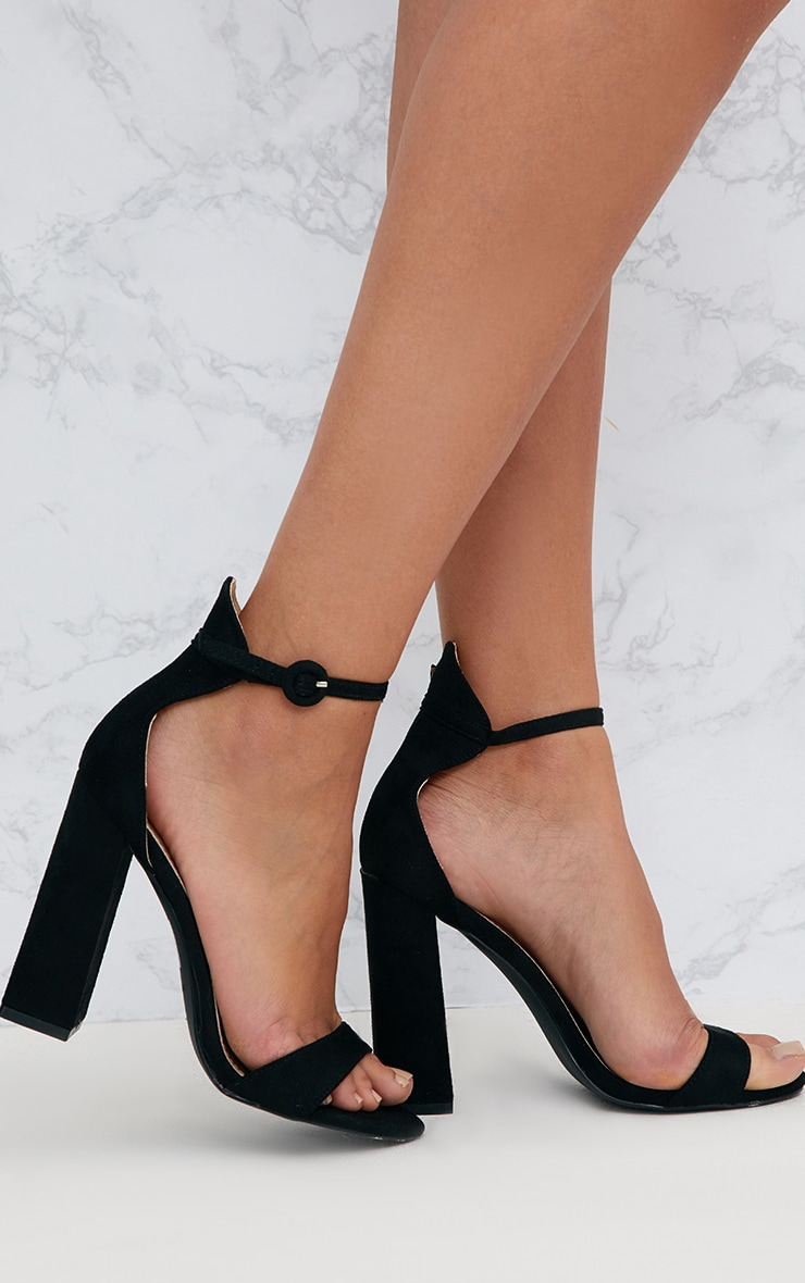 Black Faux Suede Block High Heeled Sandals 1