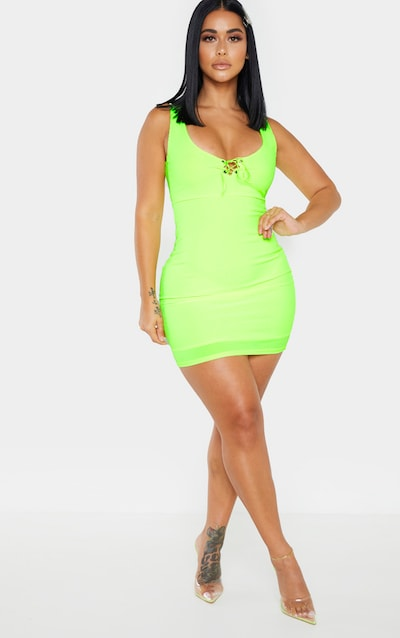 92928c8c08b7a Shape Neon Lime Ribbed Lace Up Bust Bodycon Dress PrettyLittleThing Sticker
