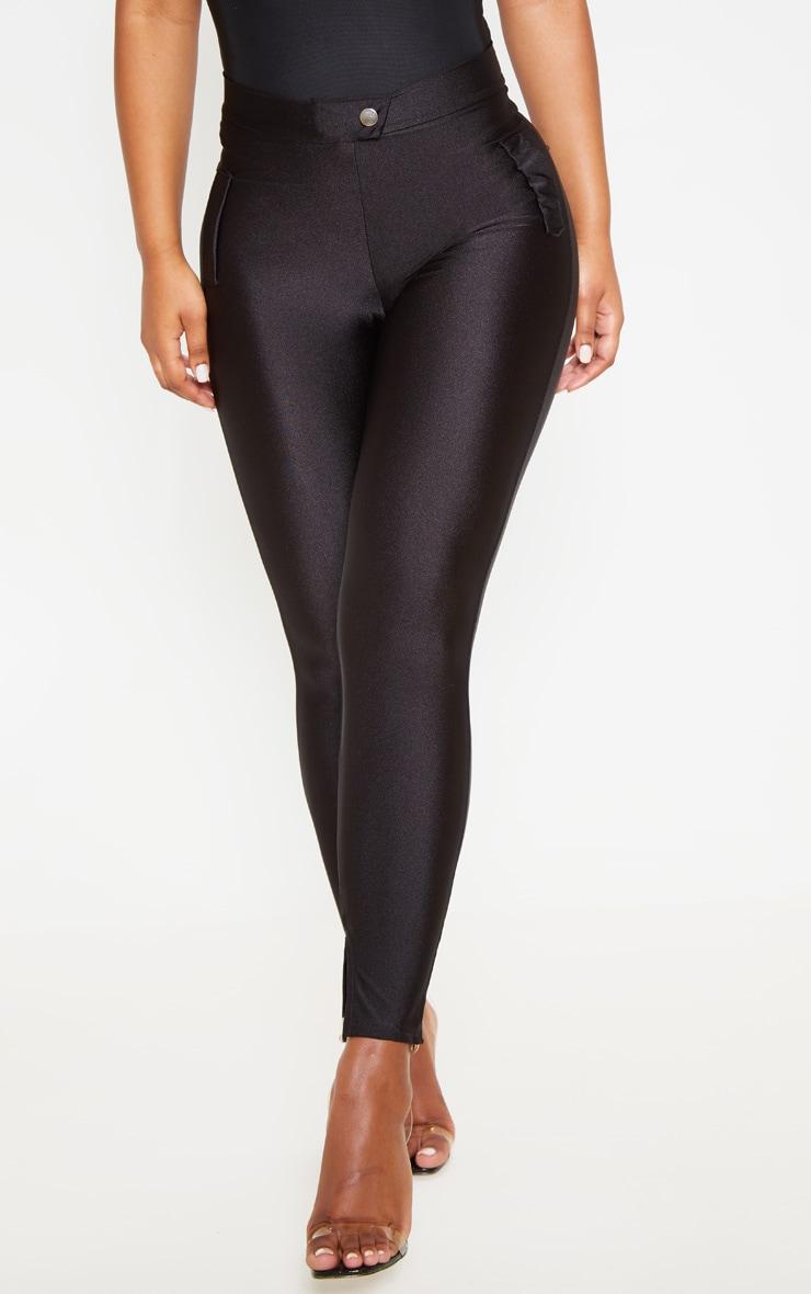 Black Disco Split Hem Skinny Pants 2