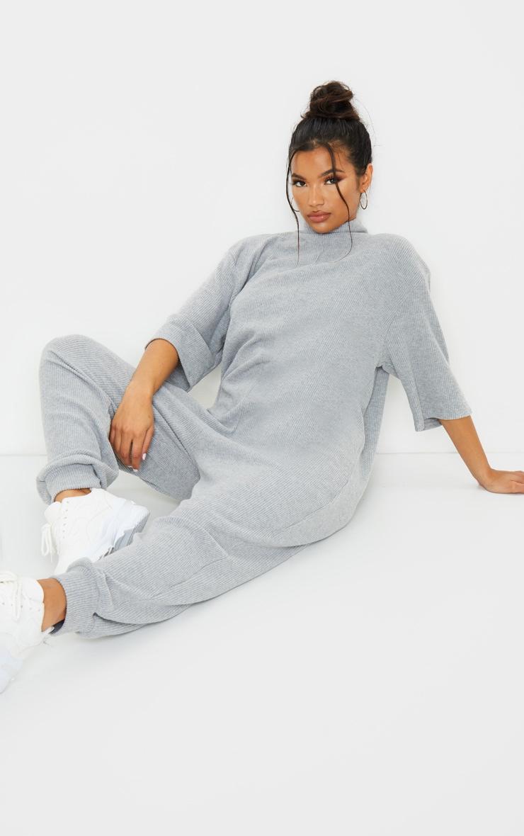 Grey Brushed Rib High Neck Oversized Jumpsuit 3