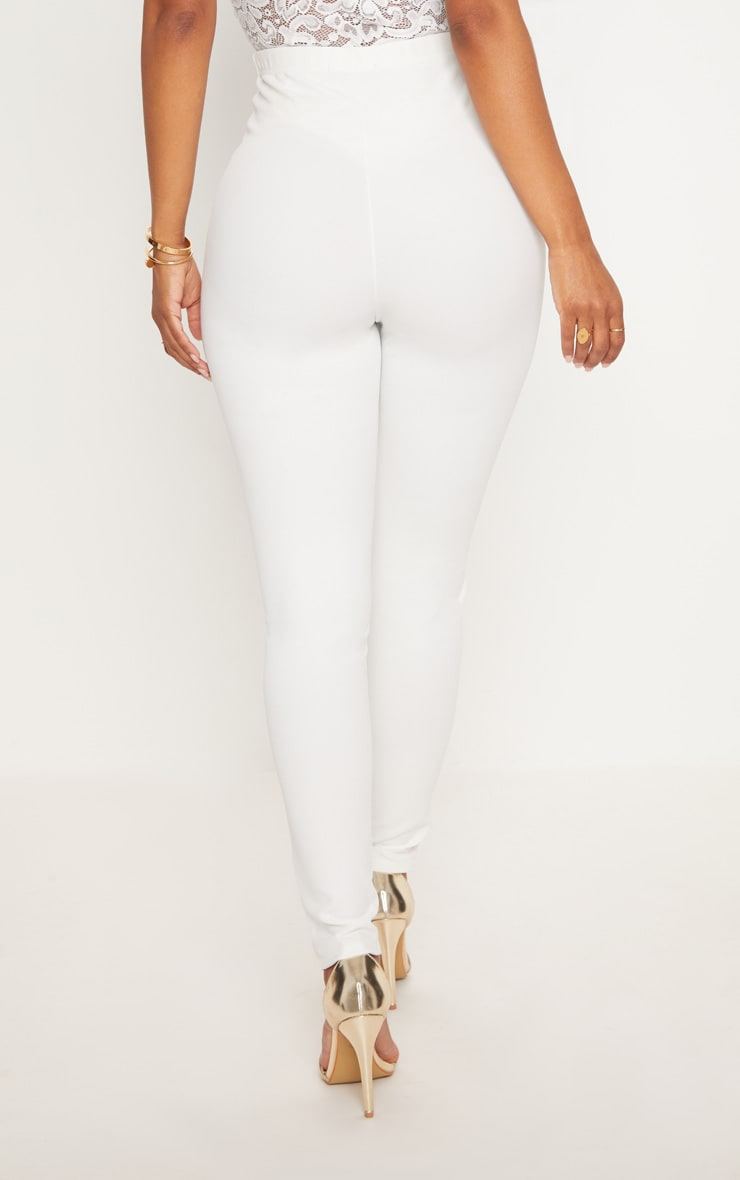 Shape White Military Button Skinny Trousers 3