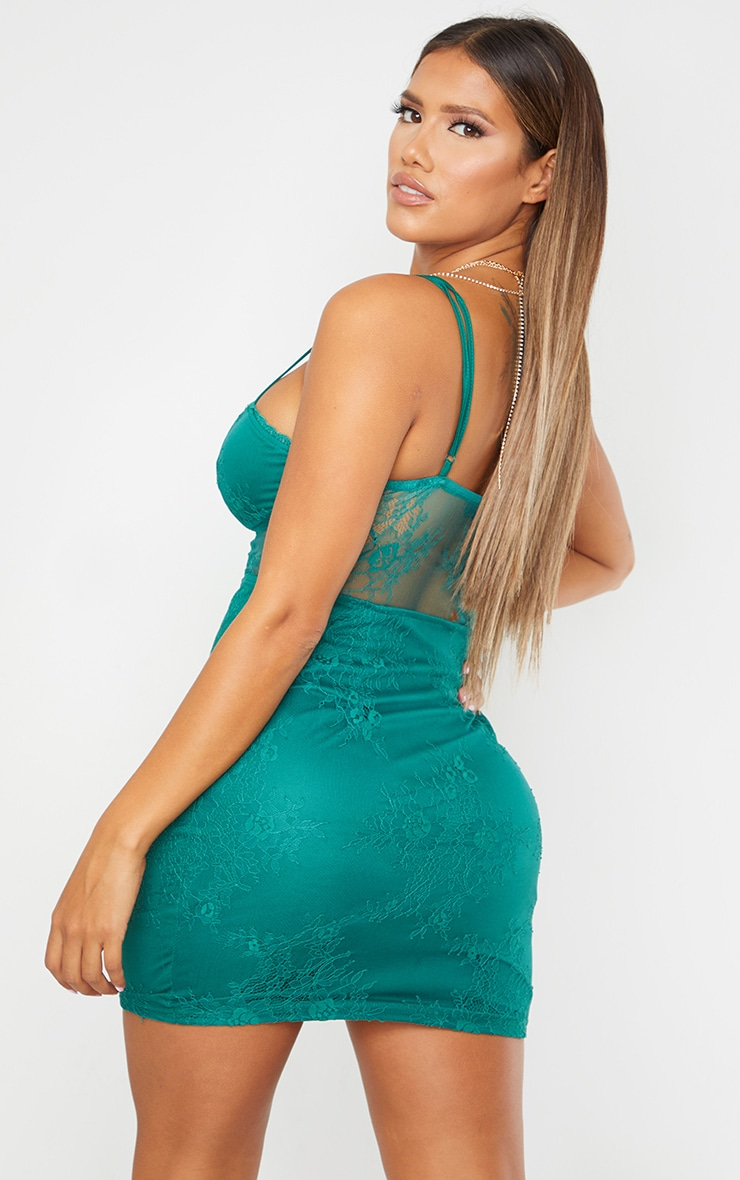 Shape Green Cup Detail Sheer Lace Bodycon Dress 2