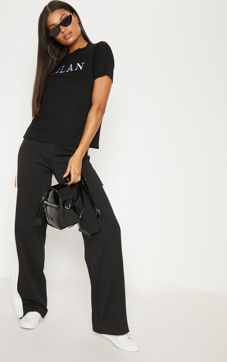 Black Embroidered Milan Slogan T Shirt  4