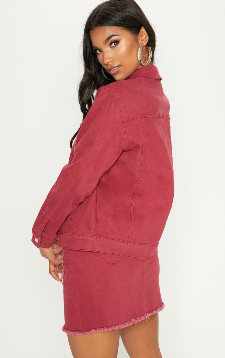 Burgundy Distressed Boyfriend Fit Denim Jacket 2