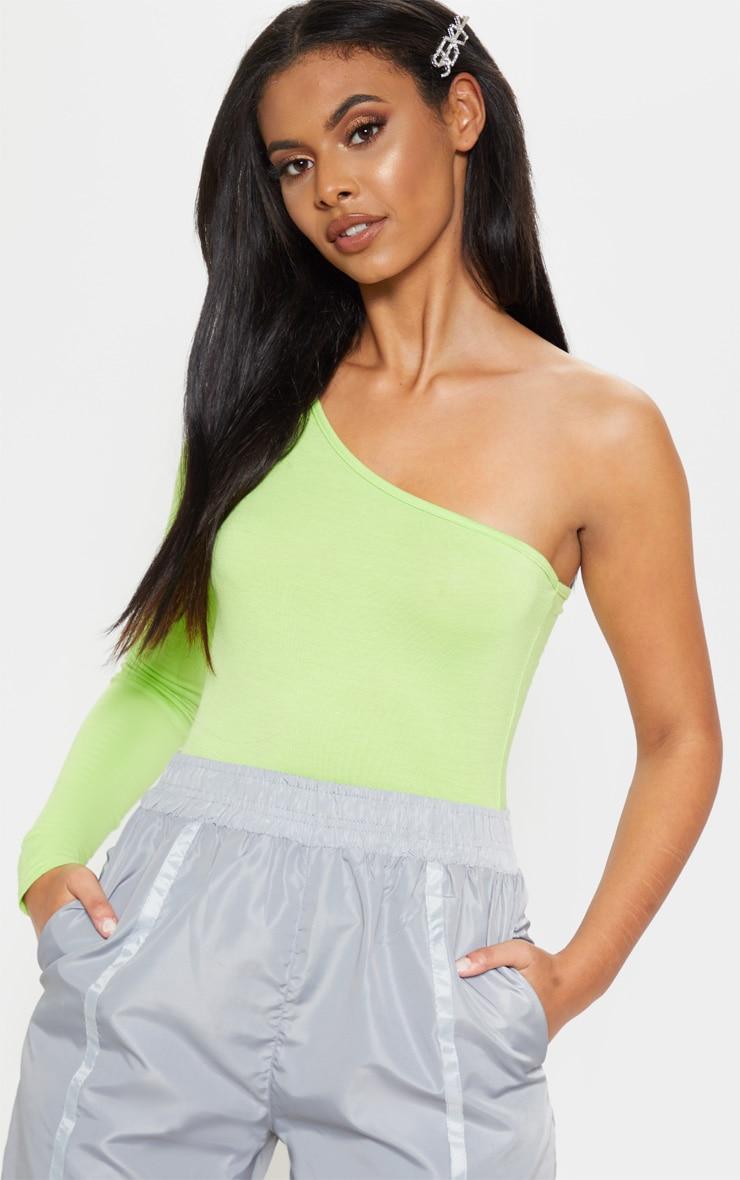 Lime One Shoulder Jersey Long Sleeve Bodysuit 1