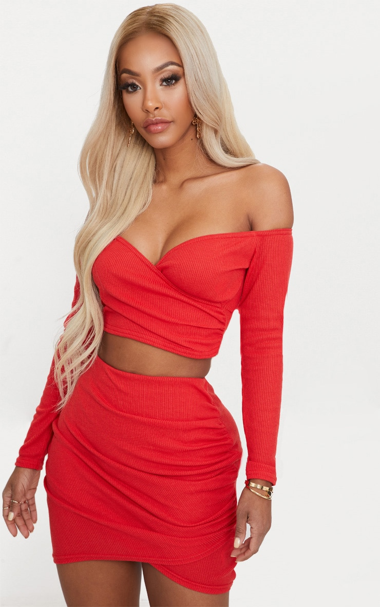 Shape Red Wrap Bardot Ribbed Crop Top 1