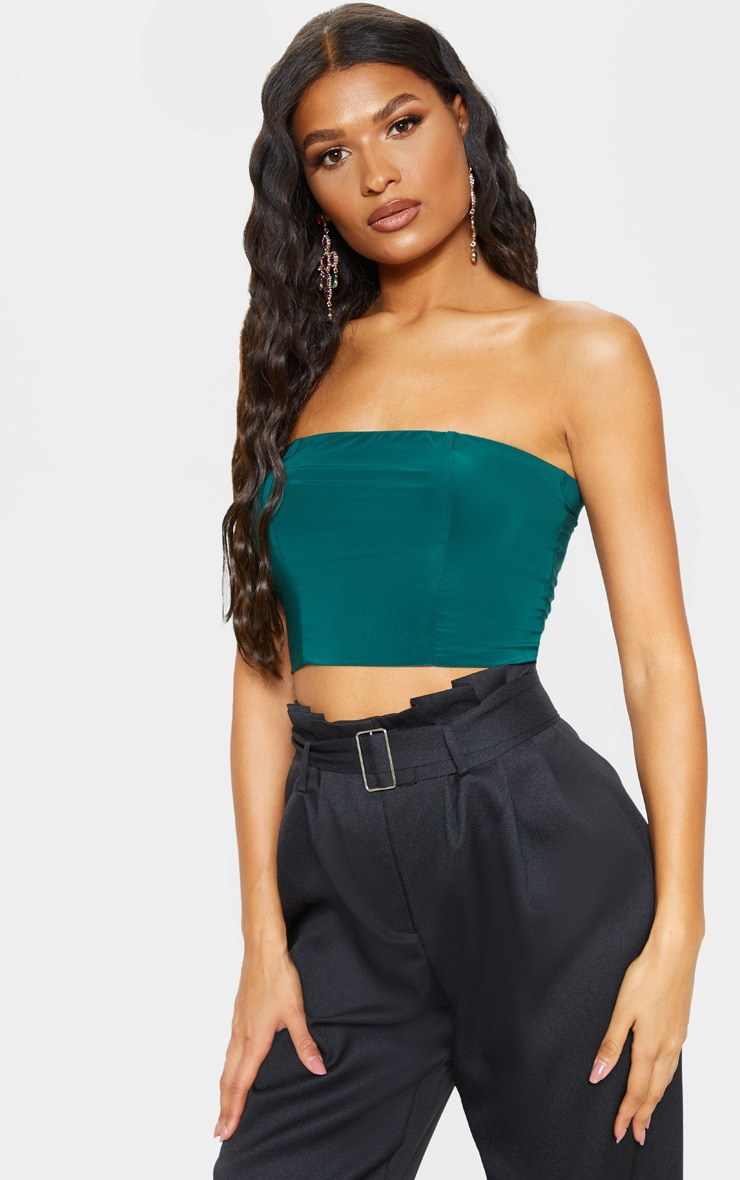 Helsa Dark Green Slinky Bandeau Crop Top 1