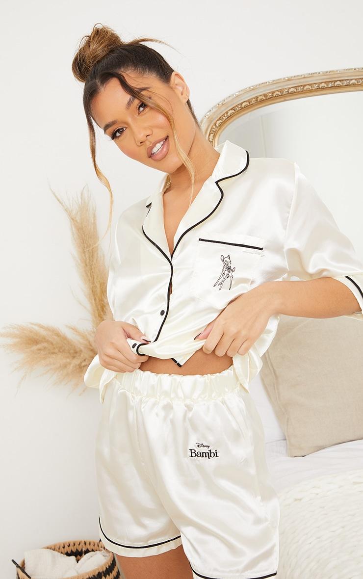 Ivory Disney Bambi Embroidered Button Up Satin Shorts PJ Set 4