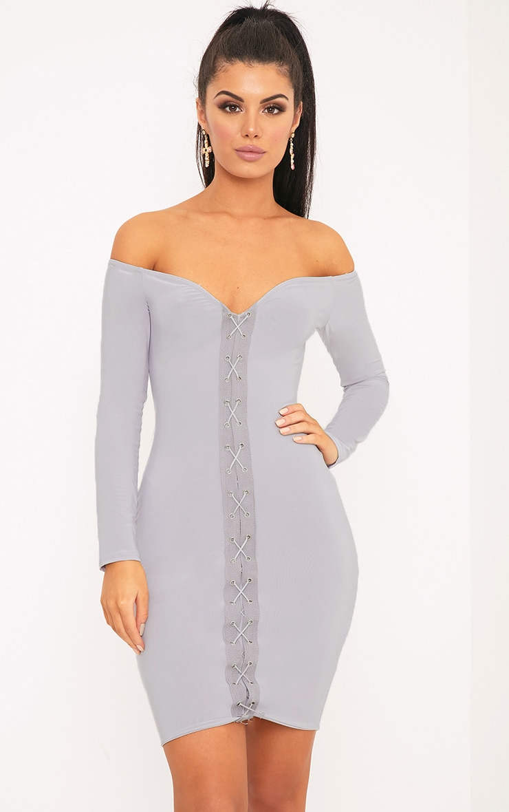 Margot Ice Grey Lace Up Bardot Bodycon Dress 1