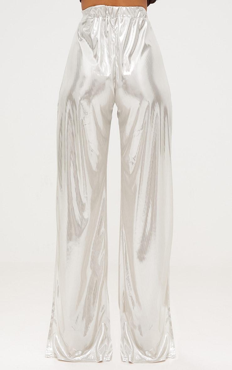 Gold Slinky Foil Tie Waist Wide Leg Trousers 5