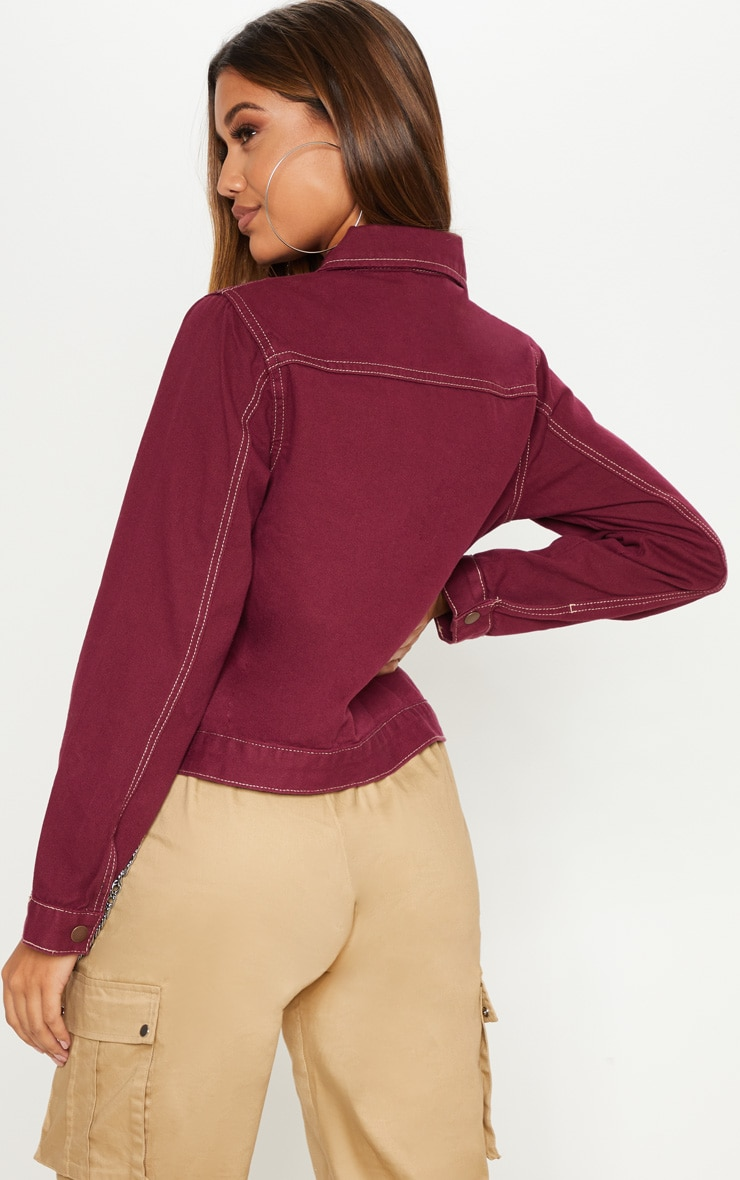 Burgundy Contrast Stitch Trucker Pocket Jacket 2