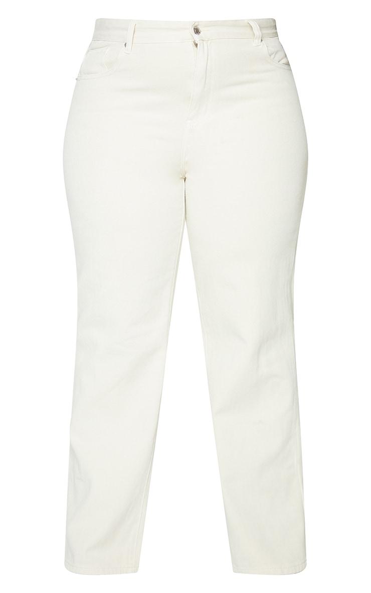 Plus Ecru Dipped Waist Denim Jeans 5