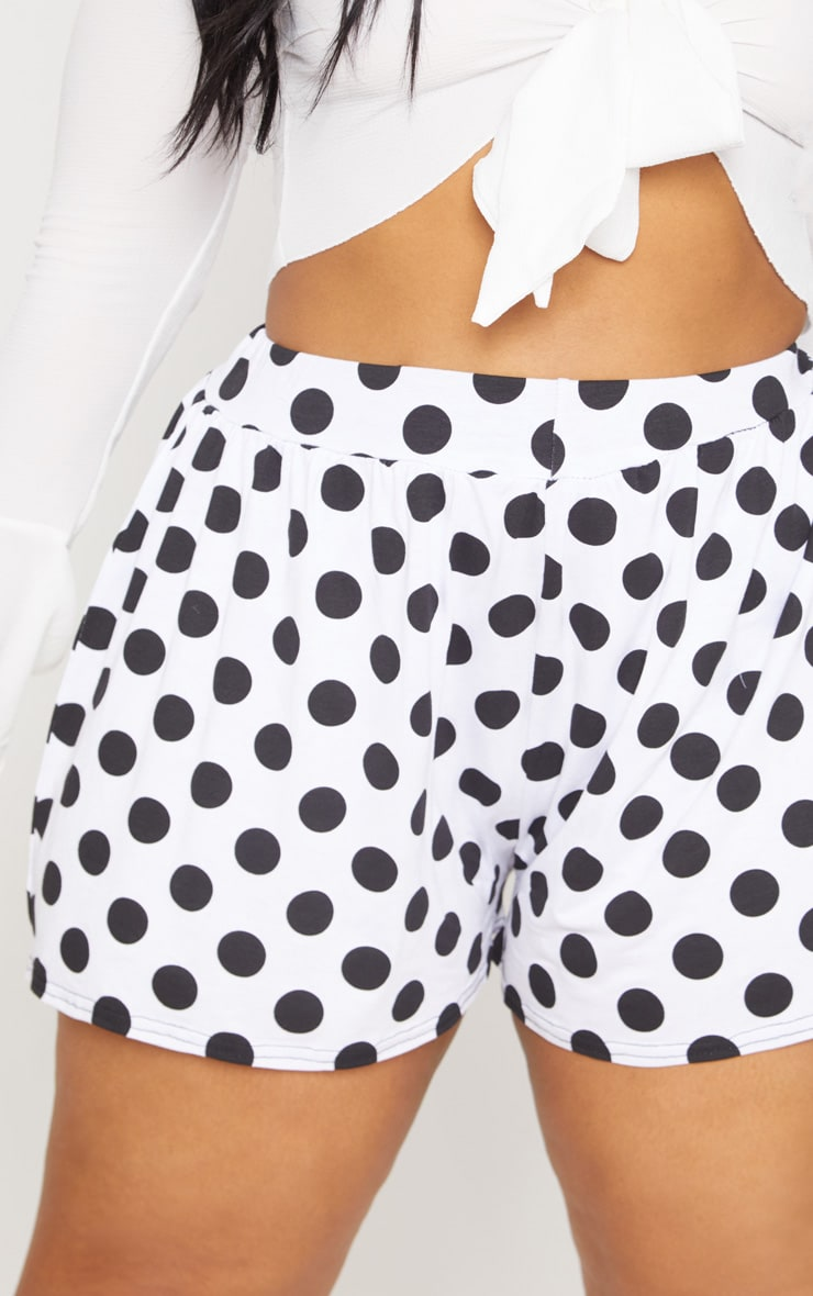 Plus Black Polka Dot Printed Floaty Shorts 6