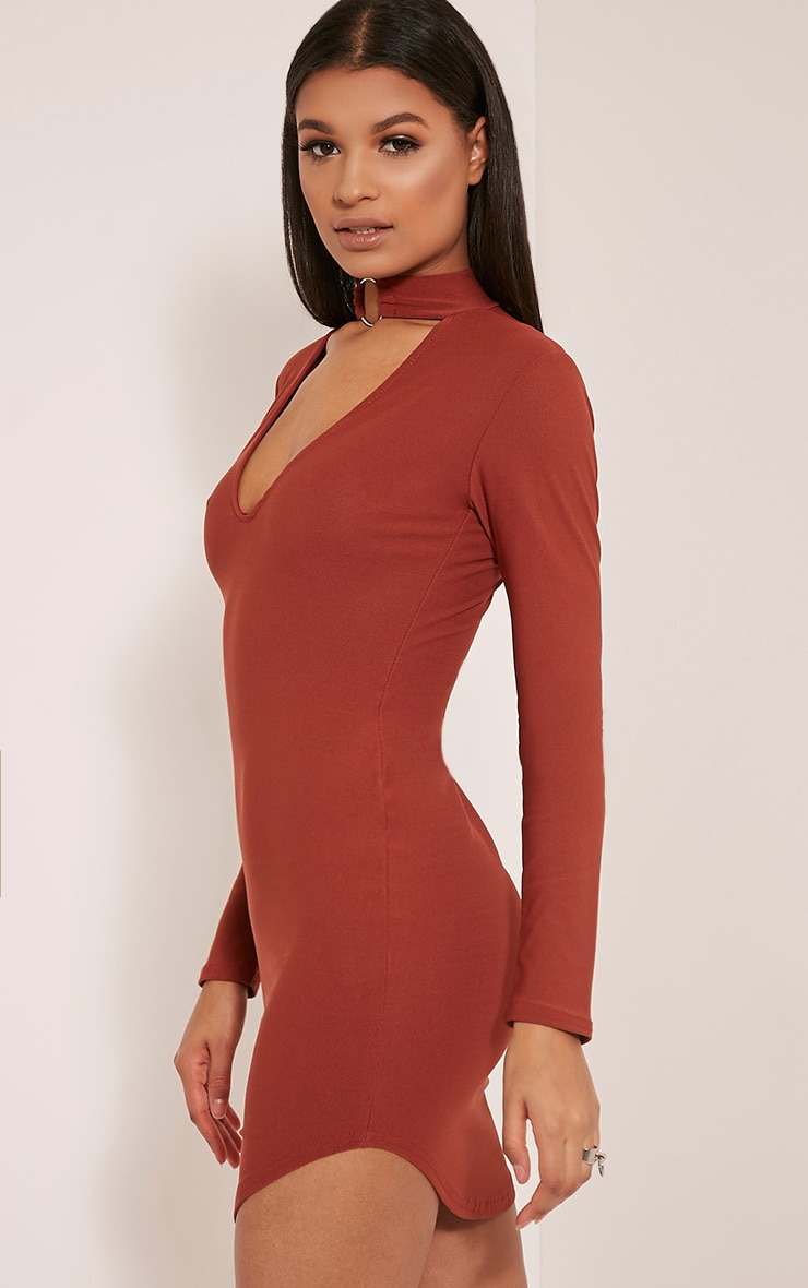 Malissa Tobacco Ring Detail Choker Neck Plunge Bodycon 4