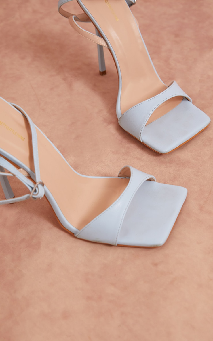 Baby Blue PU Barely There Cross Back Strap High Heeled Sandals 3