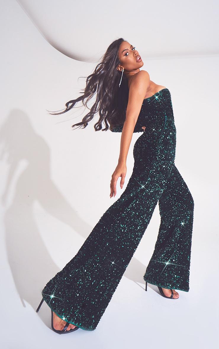 Emerald Green Premium Velvet Sequin One Shoulder Wide Leg Jumpsuit 3