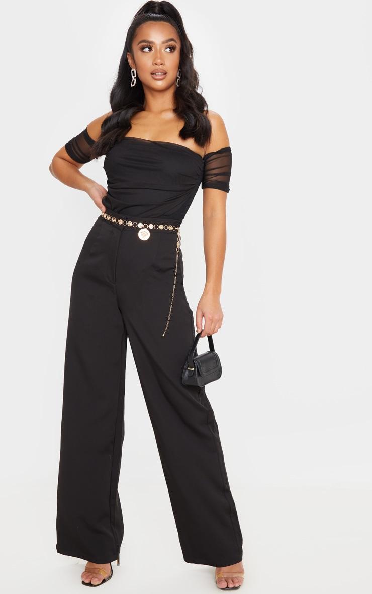 Petite Black Mesh Ruched Bardot Bodysuit 5
