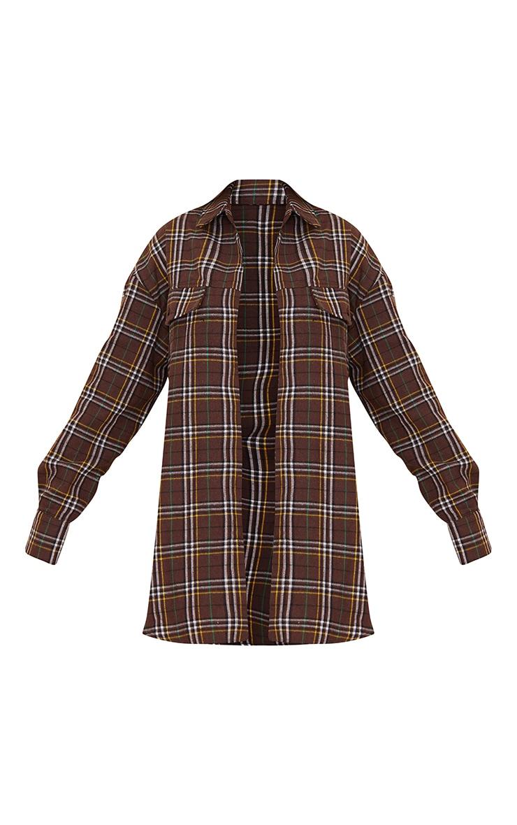 Chocolate Checked Pocket Detail Oversized Long Sleeve Shirt 5