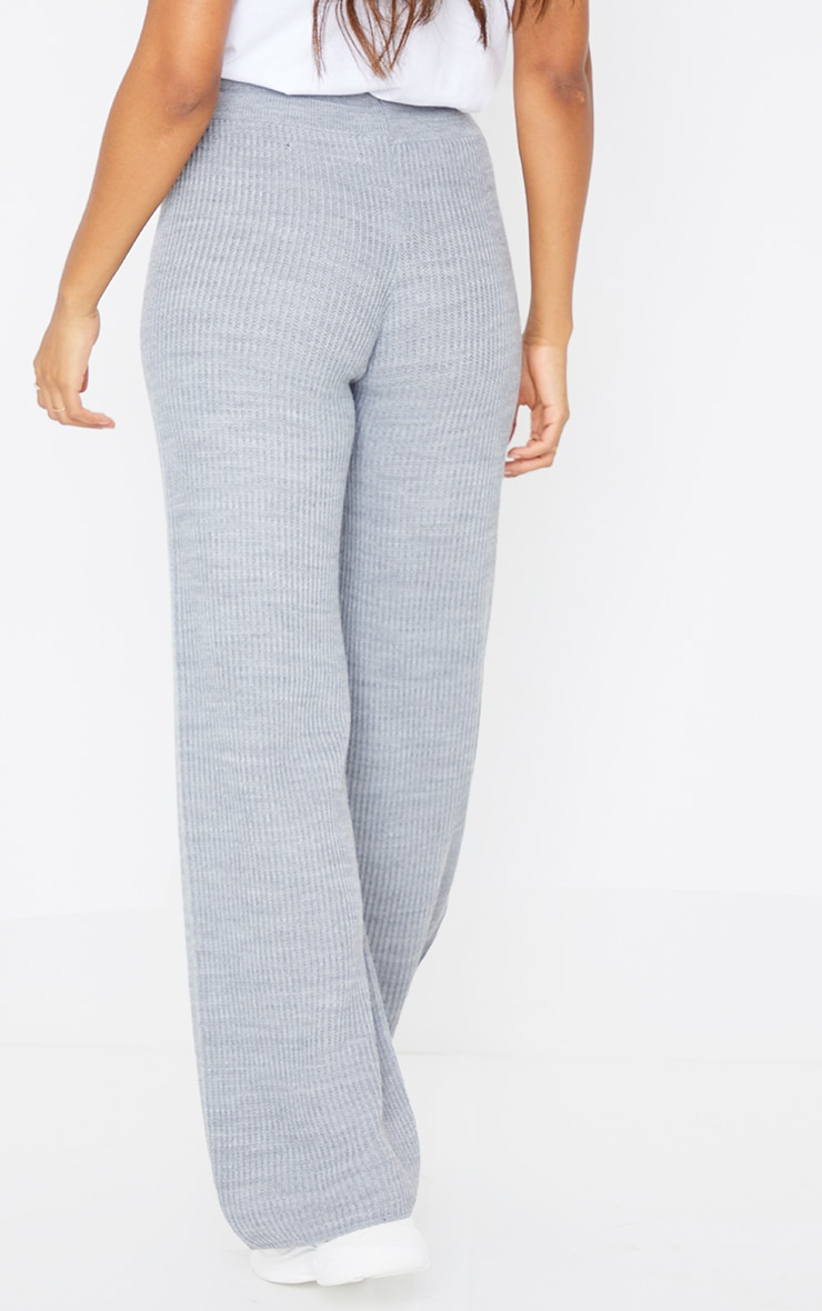 Grey Tie Waist Wide Leg Knitted Pants 3