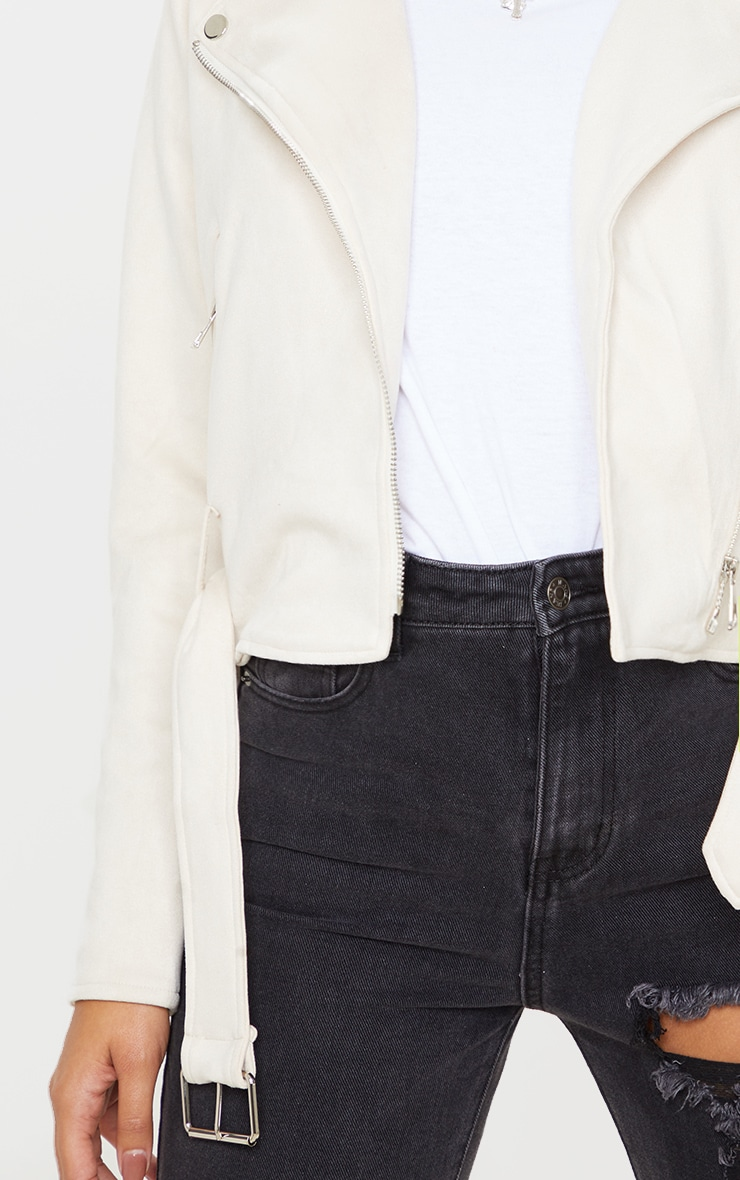 Cream Faux Suede Biker Jacket  5