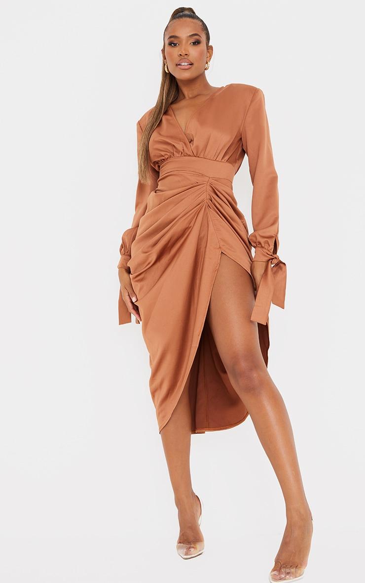 Brown Satin Wrap Long Sleeve Draped Midi Dress 1