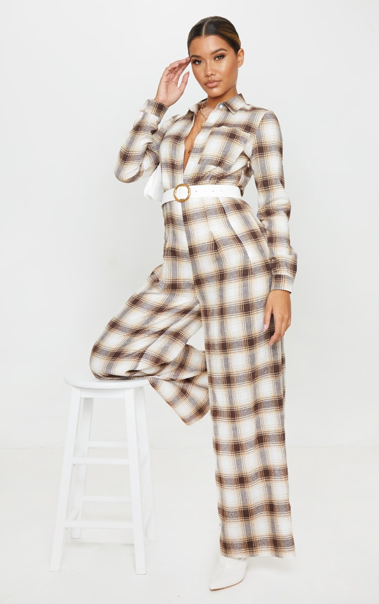 Beige Checked Oversized Wide Leg Jumpsuit 4