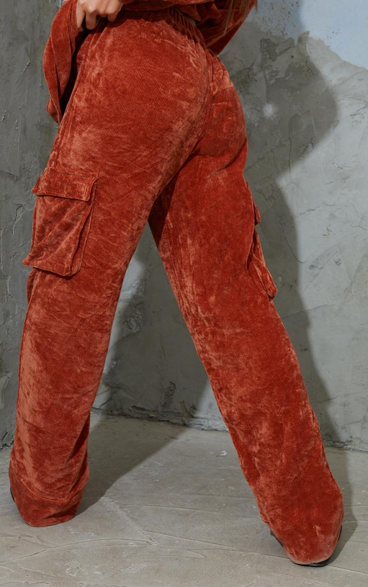 Rust Rib Velour Pocket Detail Wide Leg Pants 3