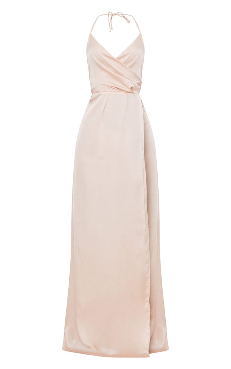 Lucie Champagne Silky Plunge Extreme Split Maxi Dress 1