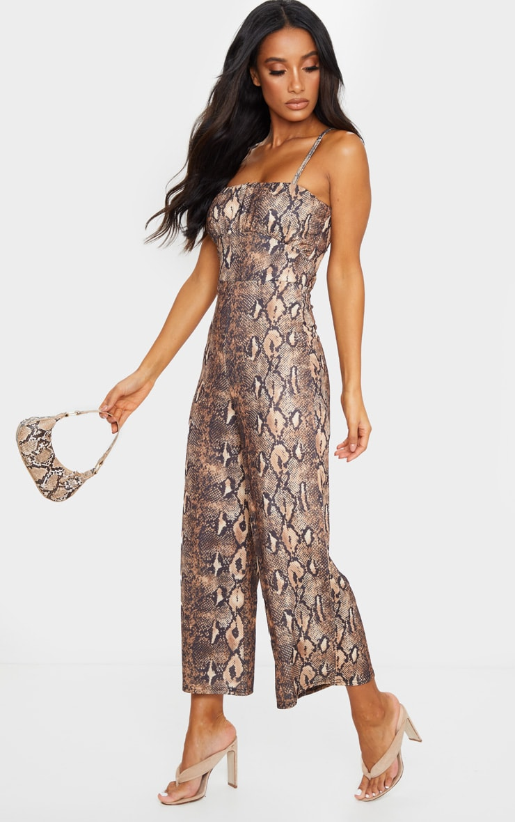 Tan Snake Print Ruched Bust Strappy Culotte Jumpsuit 3