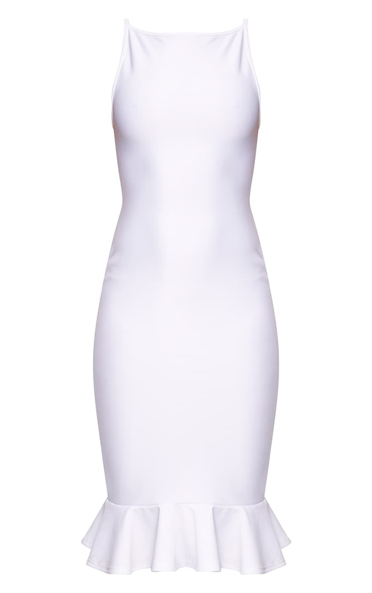 Freada White Square Neck Frill Hem Midi Dress 3