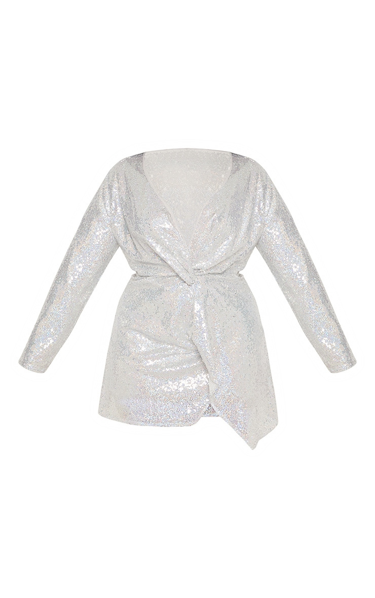 Plus Silver Sequin Twist Front Dress 4