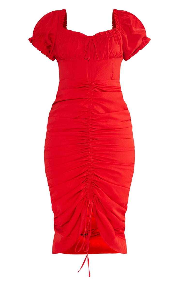 Red Broderie Anglaise Ruched Centre Bardot Midi Dress 5