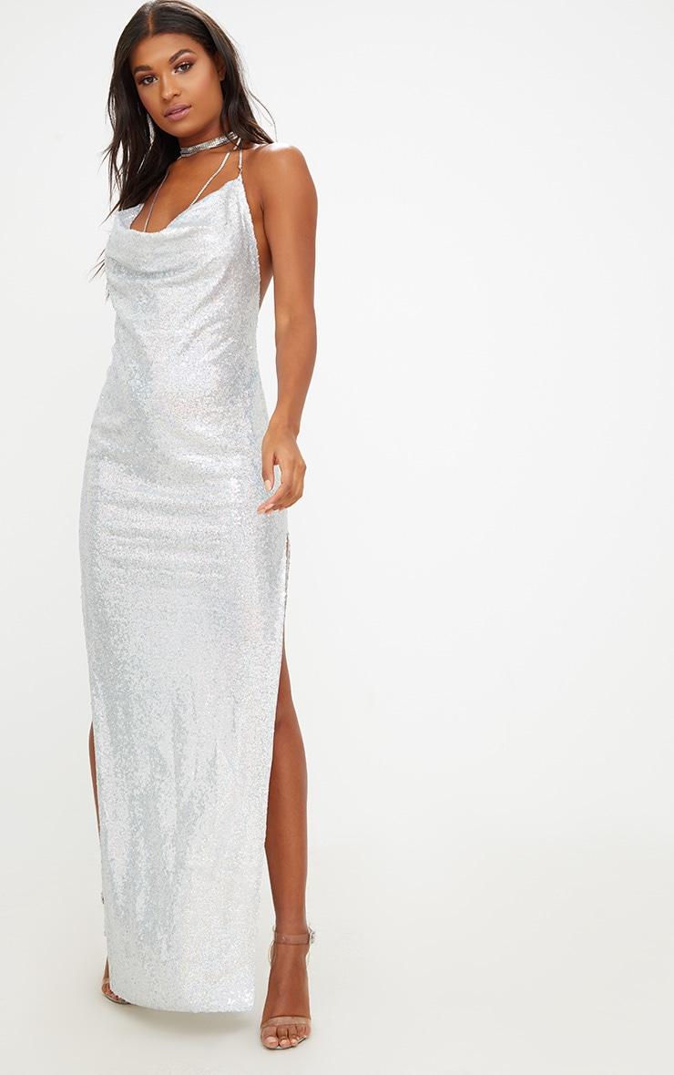 Silver Sequin Chain Choker Maxi Dress 1