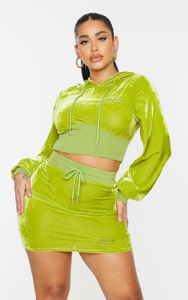 PRETTYLITTLETHING Shape Olive Baby Girl Velour Hoodie 1