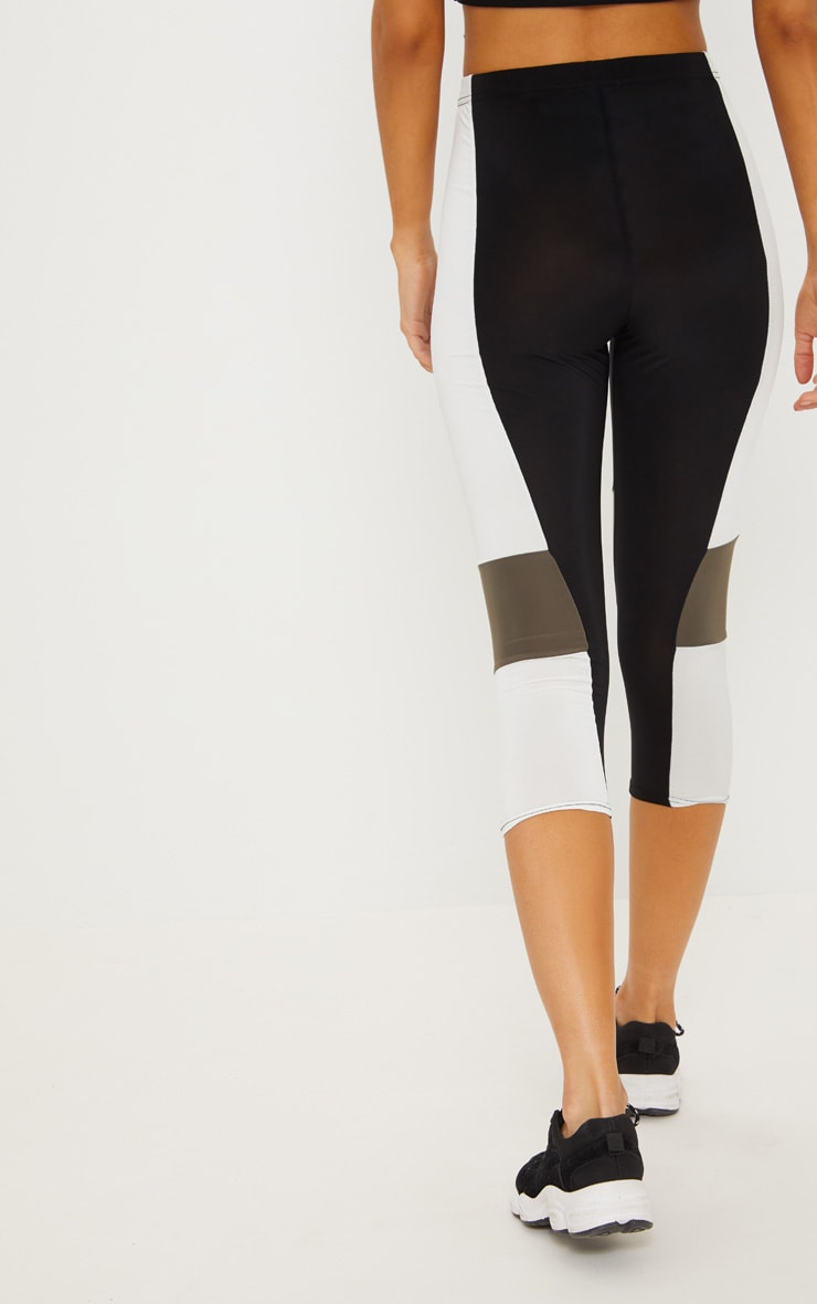 Black Slinky Colour Block Panel Cropped Legging 4