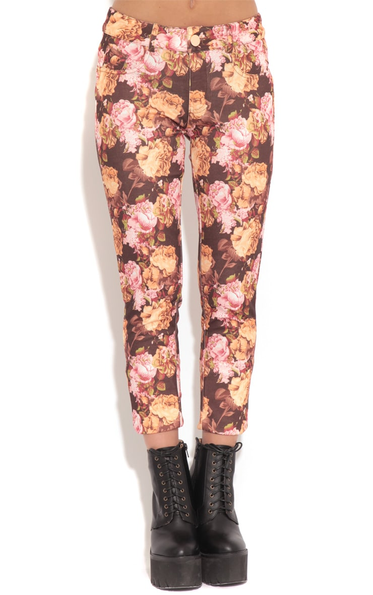 Violet Brown & Beige Floral Print Trousers 4