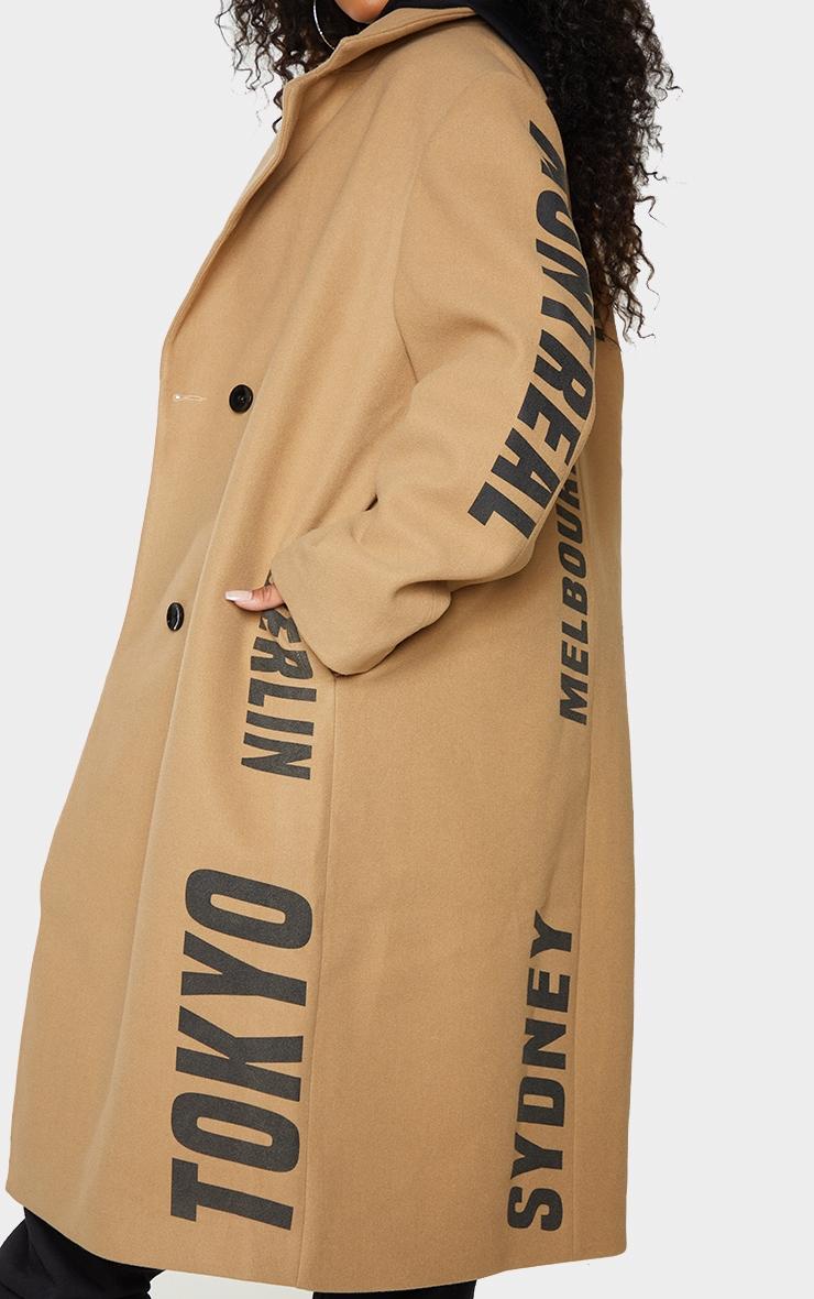Plus Camel Long Line Printed Coat 4