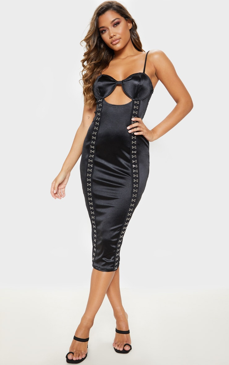 Black Satin Cup Detail Hook & Eye Midi Dress  1