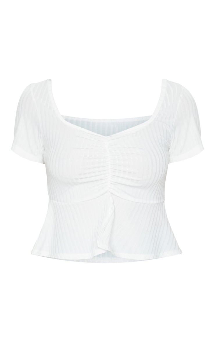 White Frill Hem Ruched Crop Top 5