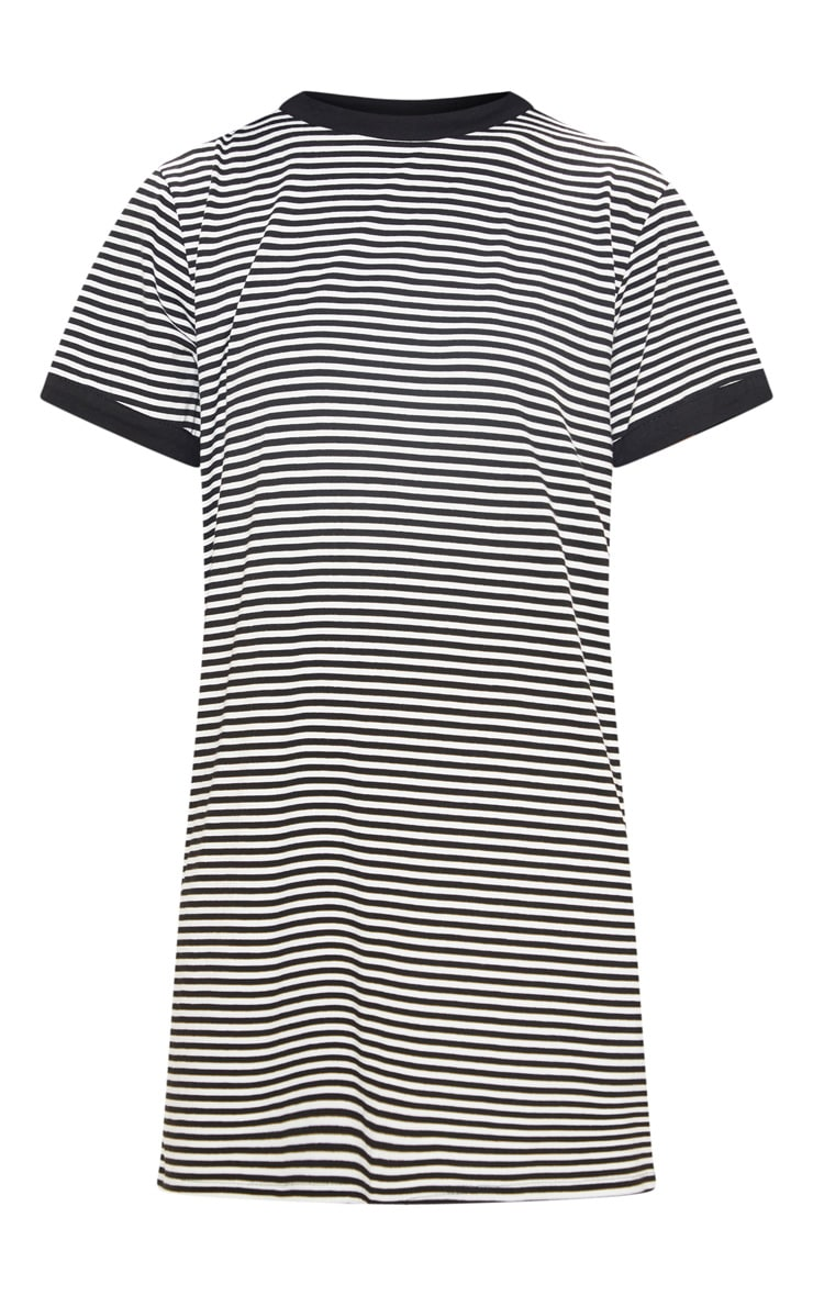 Black Stripe Crew Neck T Shirt Dress 3