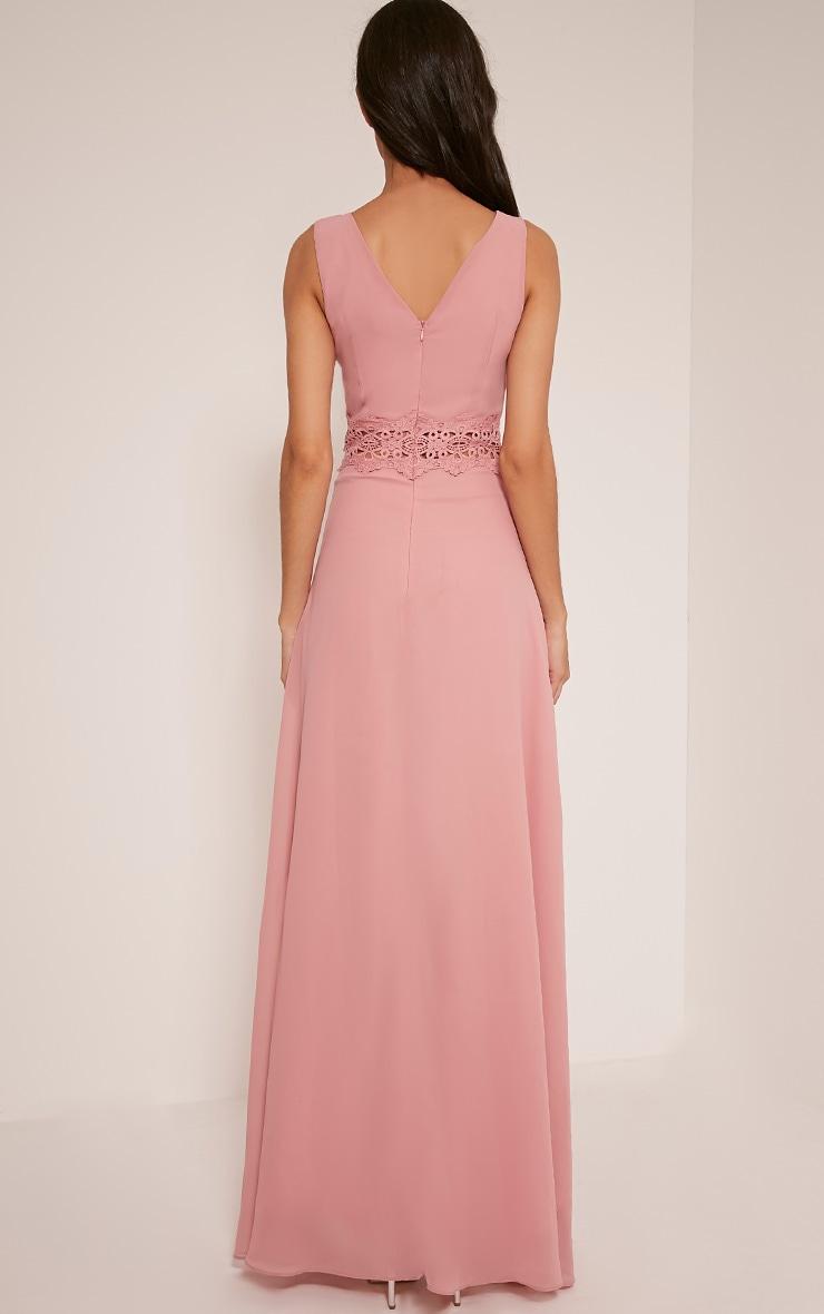 Caitlan Dusty Pink Lace Insert Maxi Dress 2