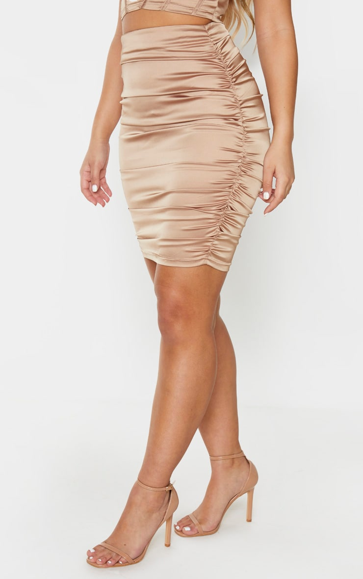 Gold Woven Double Ruched Side Midi Skirt 2