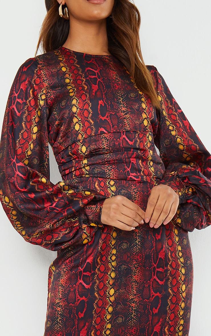 Multi Printed Satin Ruched Waist Balloon Sleeve Maxi Dress 4