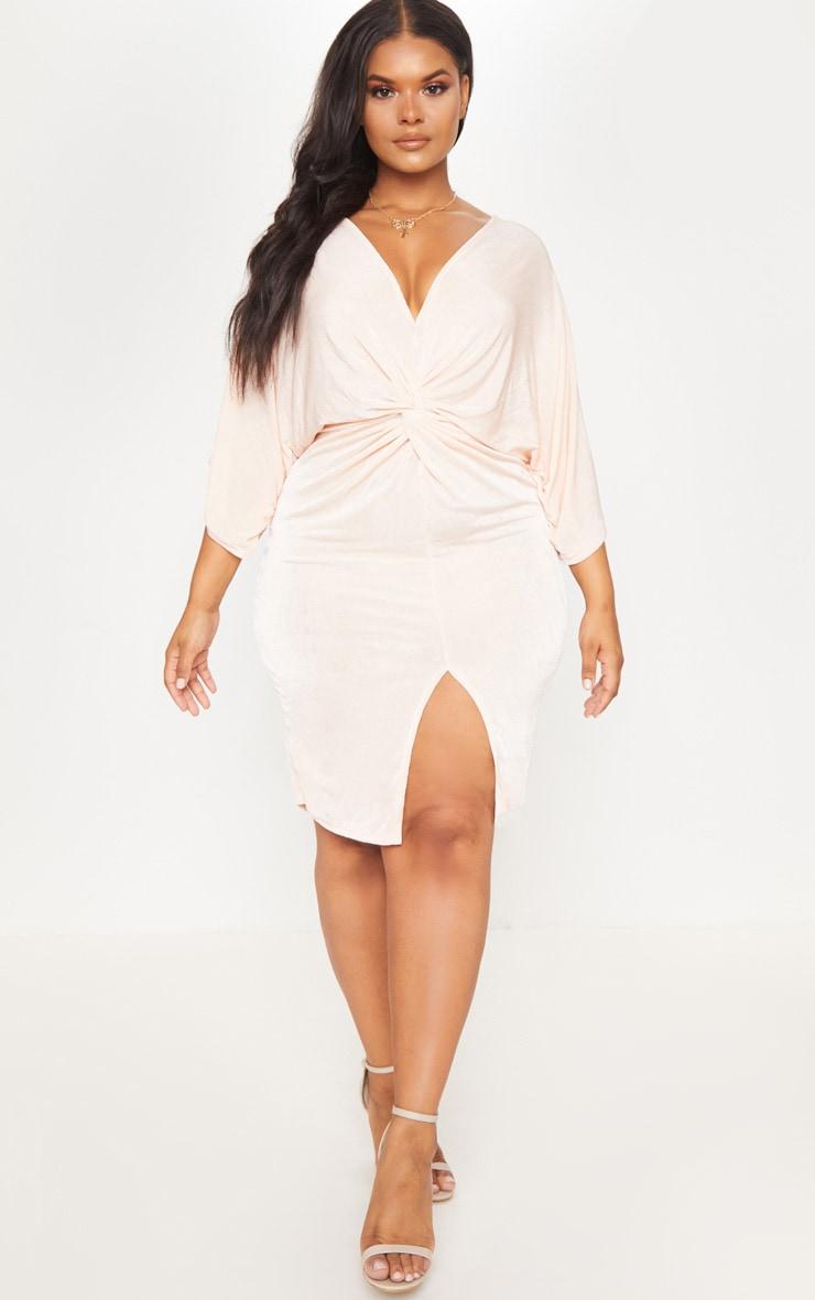 Plus Nude Slinky Kimono Midi Dress 1