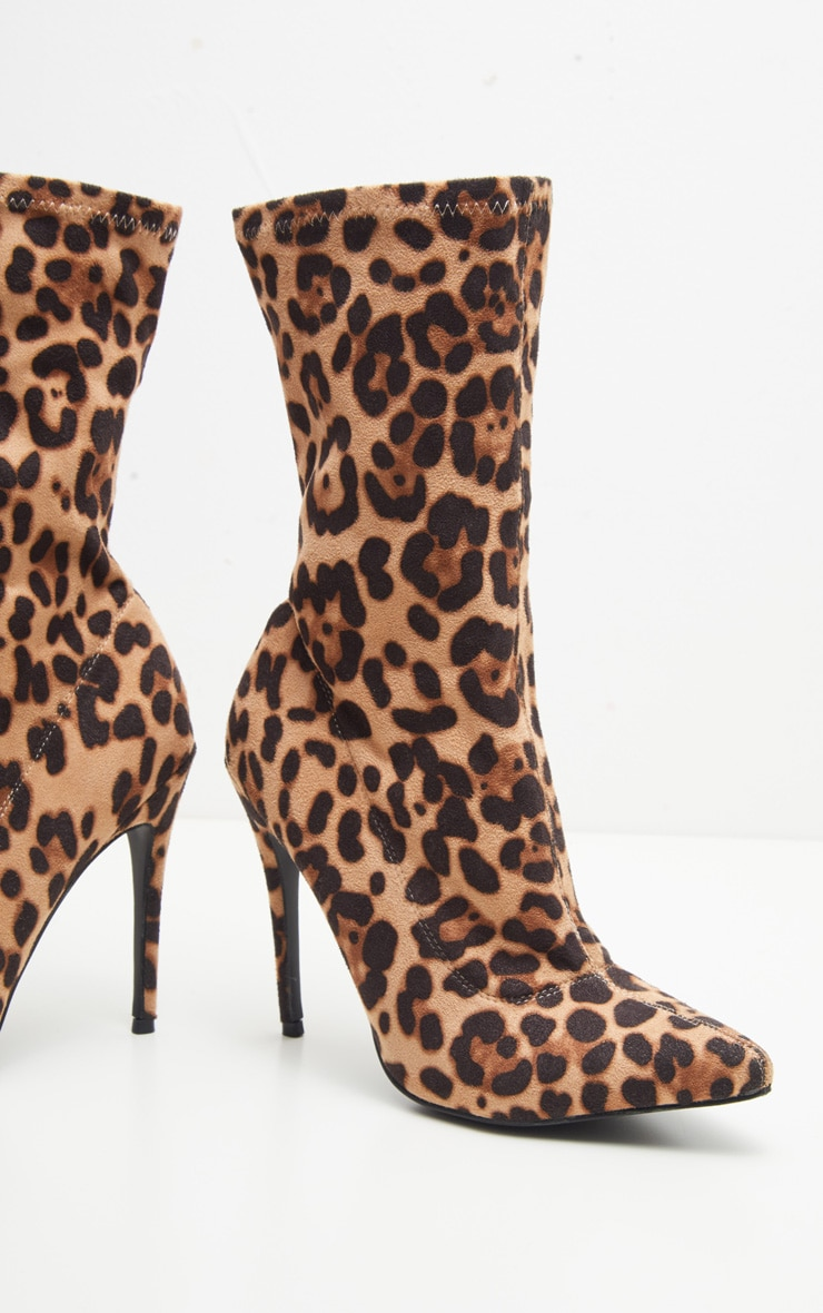 Leopard Stiletto Heel Sock Boot  3