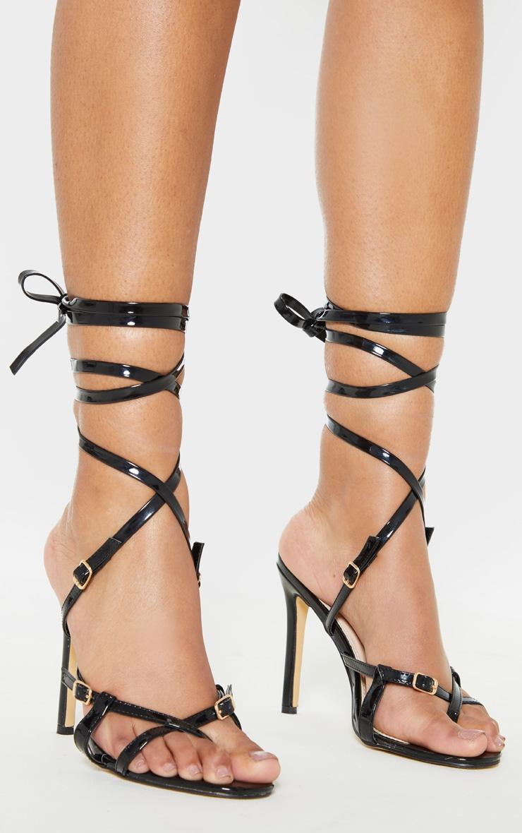 Sandales noires à brides style cage 1