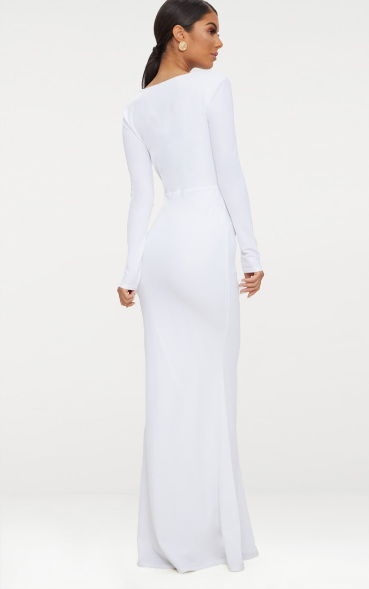 White Cut Out Detail Long Sleeve Maxi Dress 2