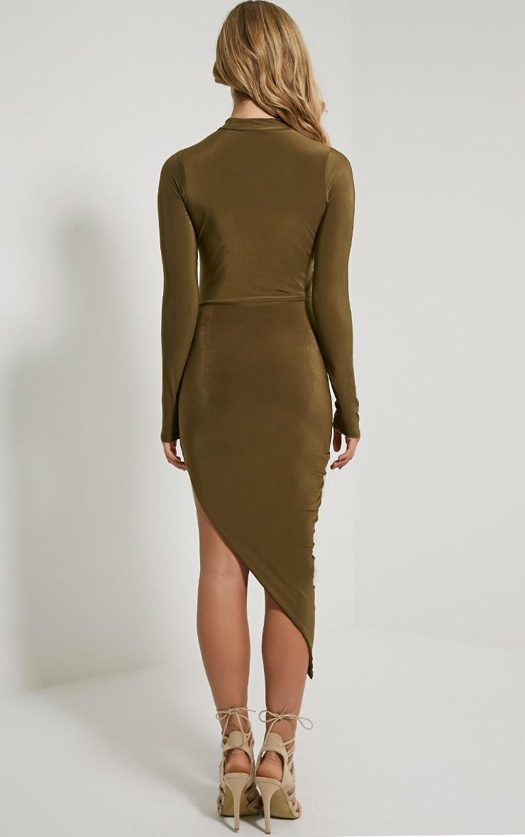 Saffy Khaki Long Sleeve Drape Dress 2
